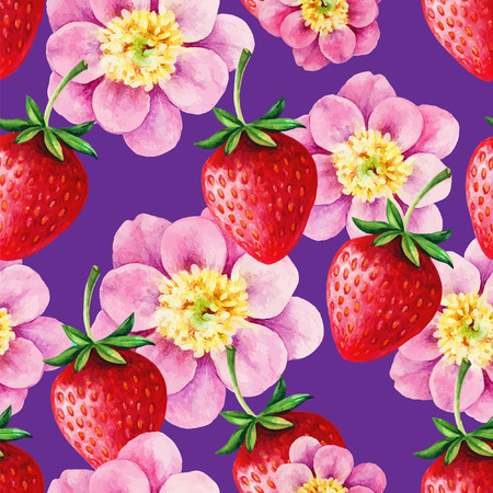 floral vectors: Strawberries and Peony seamless hand drawn vector pattern with blue background