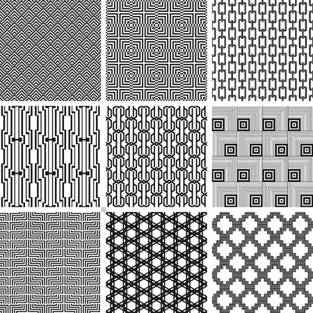 Vector seamless fashion black and white patterns set Illustration