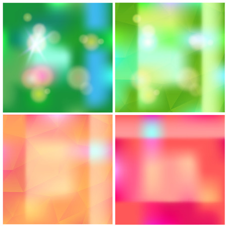 Abstract blurred vector shiny backgrounds set Illustration