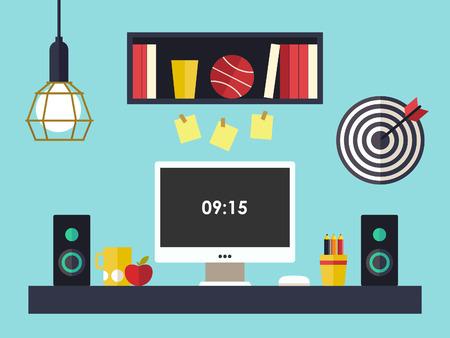 desk work: Home office flat interior illustration