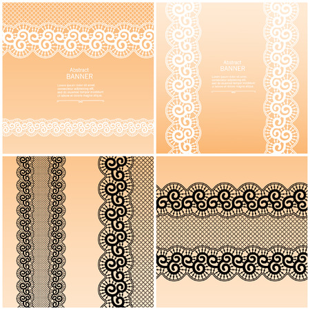 ladylike: Luxury abstract decorative frame template with lace ribbon Illustration