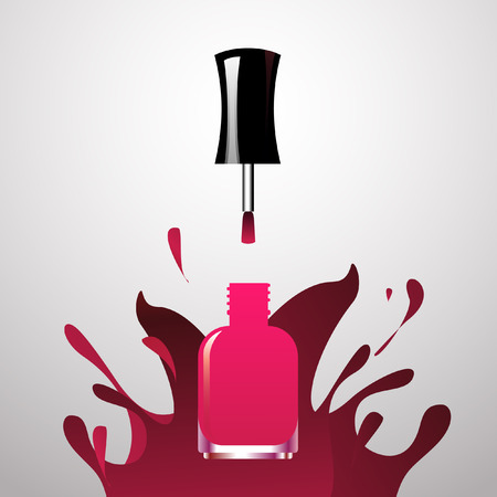 cosmetic lacquer: Pink Nail polish open bottle iwith splash paint background