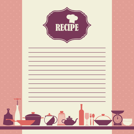 cooking book: Vector Recipe page design. Vintage style cooking book page Image ID: 195205271 Illustration