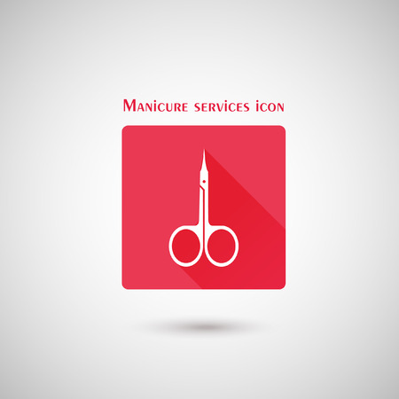 straight edge: Manicure scissors icon for manicure services and beauty salon