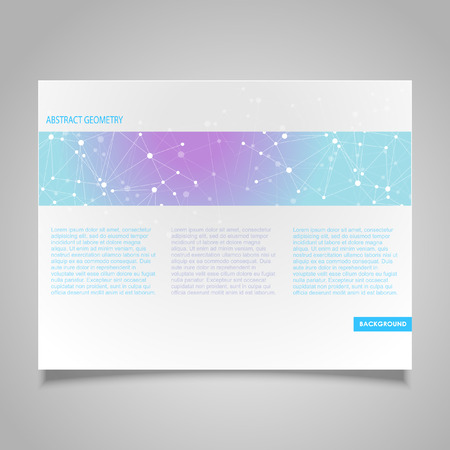 business connection: Brochure page banner and business card design templates with abstract molecular connection theme Illustration