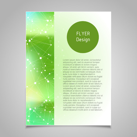 Brochure page banner and business card vector design templates with abstract molecular connection theme Illustration