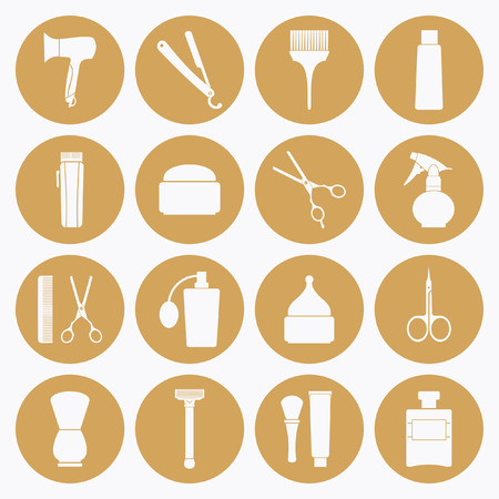 Barber Shop tools icons set