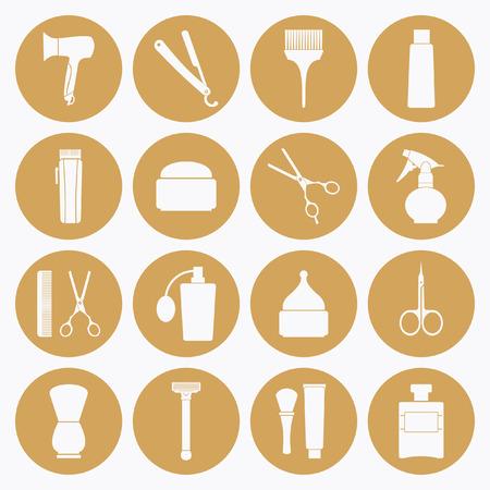 set of men hair styling: Barber Shop tools icons set