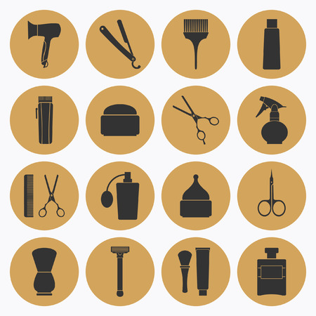 set of men hair styling: Barber Shop tools icons set