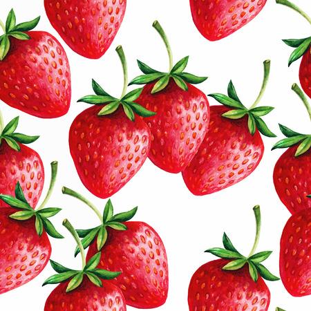 hand drawn: Strawberries seamless hand drawn pattern