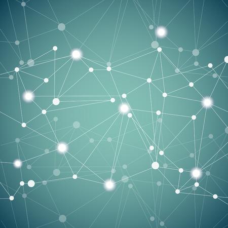 추상 분자 연결 다각형 배경.