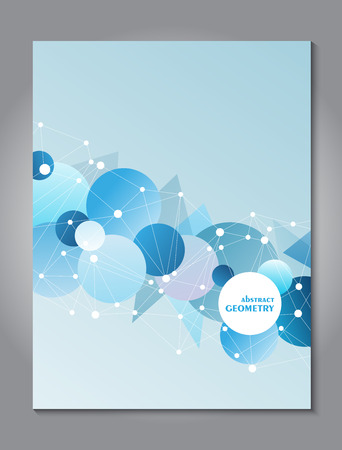 connectivity: Brochure blue cover design template with abstract network connection concept background