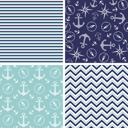 Seamless pattern with marine anchor and wind rose symbols Illustration