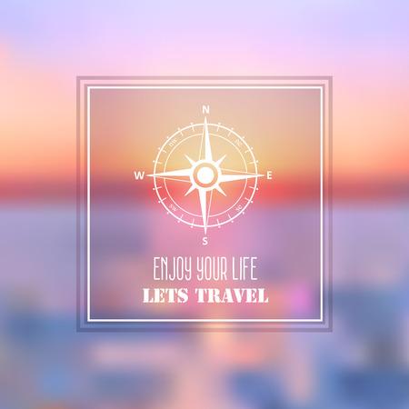 bussola: Viaggi in mare Estate sfondo astratto con rosa dei venti simbolo. Tramonto sulla spiaggia illustrazione mare