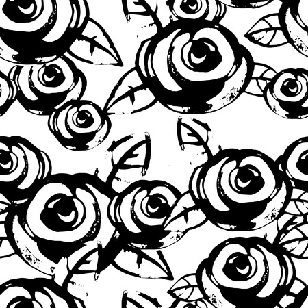 Watercolor black and white pattern with roses Illustration