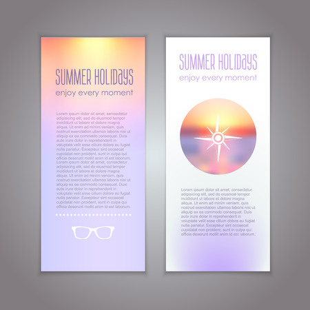 Vector banners set with sunset concept with compass symbol Illustration
