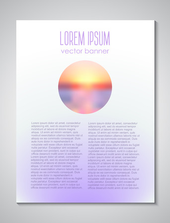 future advertising: Sunset background. Brochure light cover design template Illustration