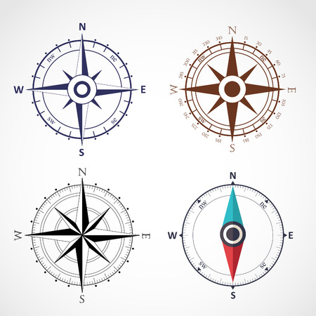 rosa vientos: Viento rose símbolos planos brújula Vectores