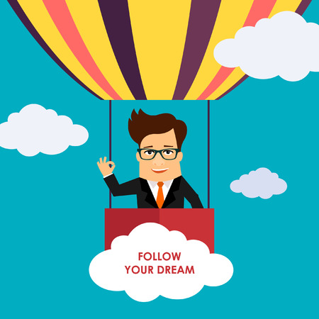 touch sensitive: Business man cartoon character flying on hot air balloon illustration Illustration