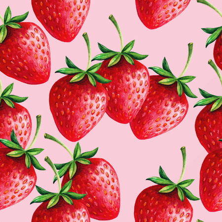 Strawberries seamless hand drawn vector pattern with pink background