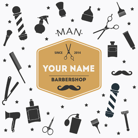 Barber shop vintage background with barber shop label and tools Ilustracja