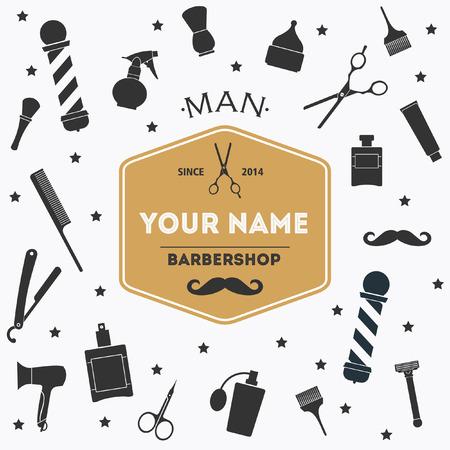 Barber shop vintage background with barber shop label and tools Illustration