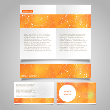 Brochure page vector design template with abstract molecular connection theme Illustration