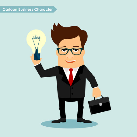 Business man cartoon character holding idea lamp symbol illustration