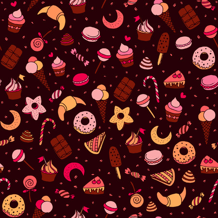 Sweets and baking dessets hand drawn seamless patten Illustration