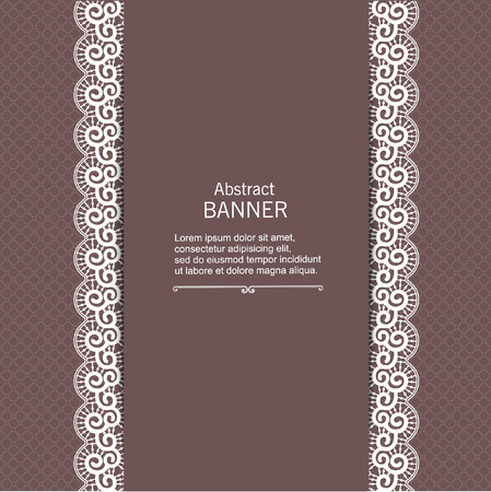 the womanly: Luxury abstract decorative frame template with lace ribbon Illustration