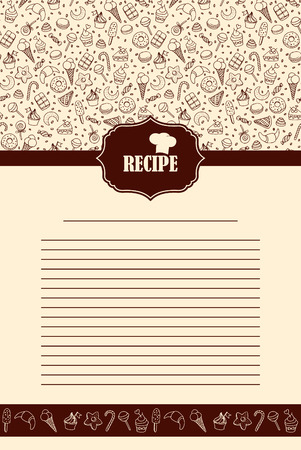 recipe book: Recipe page design. Vintage style cooking book page