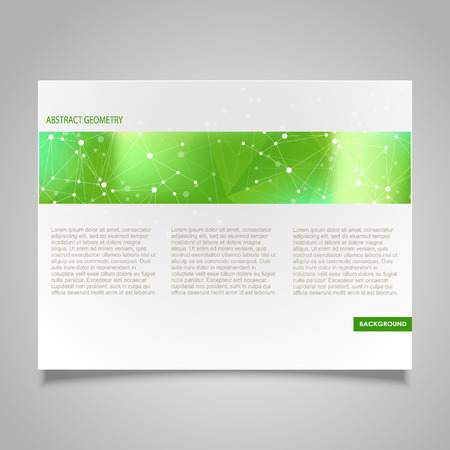 page design: Brochure page design template with abstract molecular connection theme Illustration