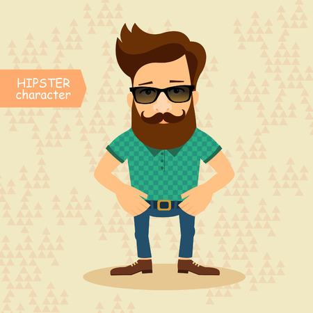 geeky: Hipster cartoon character. Vintage fashion style illustration