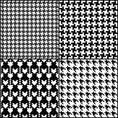 Hounds tooth seamless fashion patterns set
