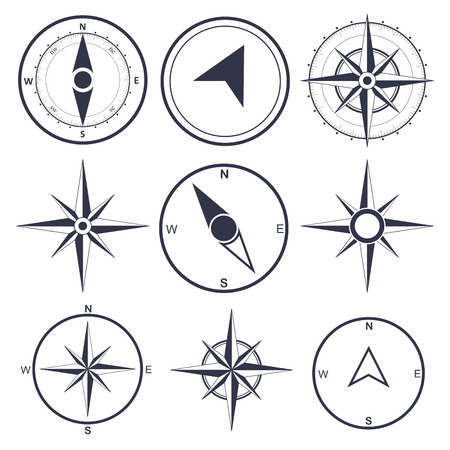 navegacion: Viento rose símbolos planos brújula Vectores