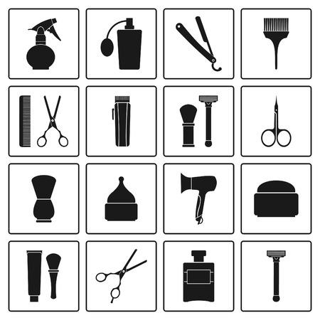 Barbershop vintage icons set 일러스트
