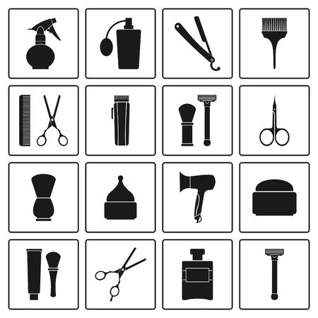Barbershop vintage icons set Illustration