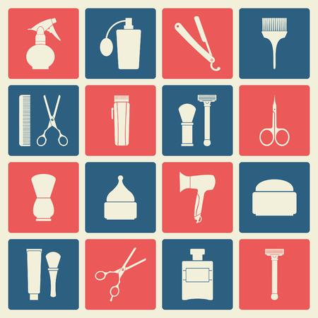 barbershop: Barbershop vintage icons set Illustration
