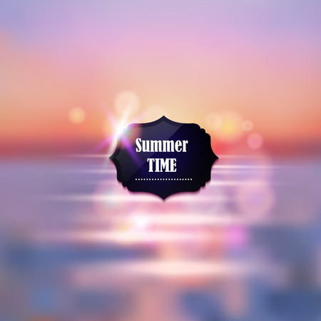 Summer vacation abstract background. Sunset on the sea beach illustration