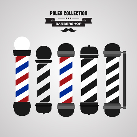 barbershop pole: Barbiere polo d'epoca Set di icone Vettoriali
