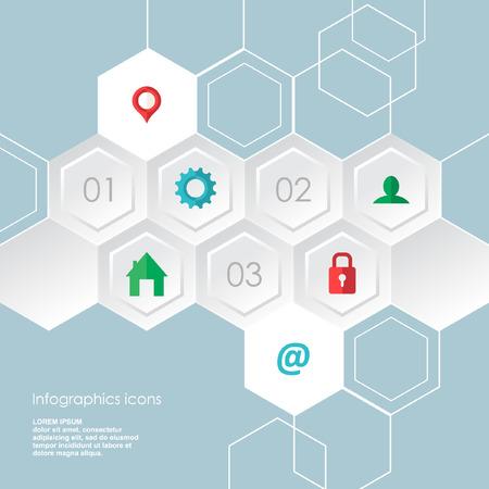 Web zeshoekige infographics pictogrammen instellen