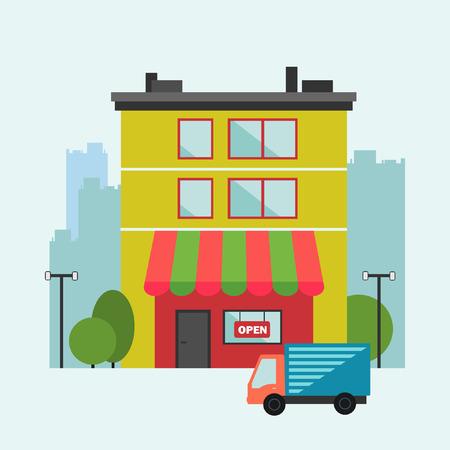 frontdoor: Building retail store with delivery van