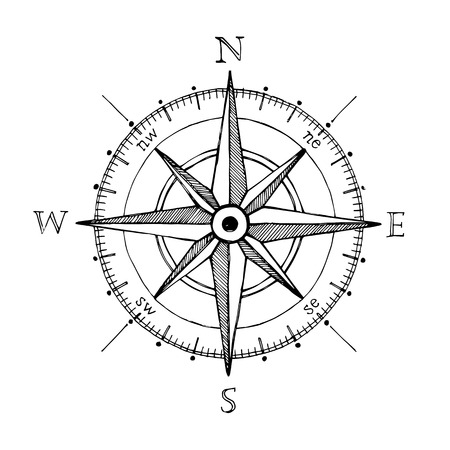 Compass wind rose hand drawn design element