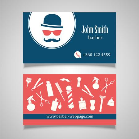 sign pole: Hair salon barber shop Business Card design template