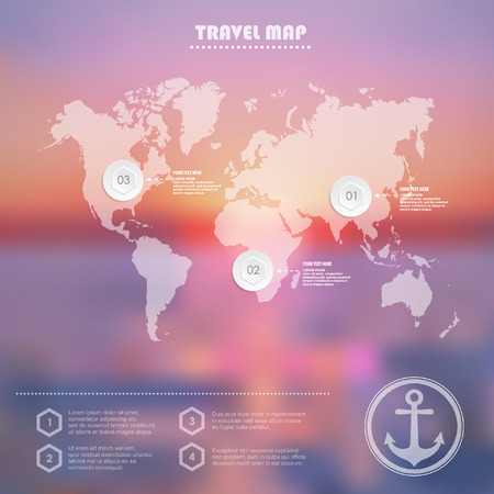 travel map: Infographic Travel World Map symbols and typography