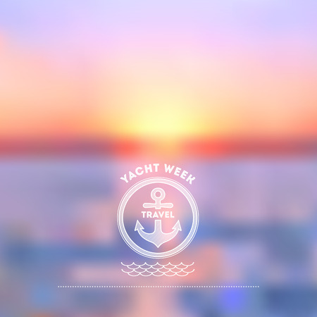 cruise travel: Summer vacation abstract background. Sunset on the sea beach illustration