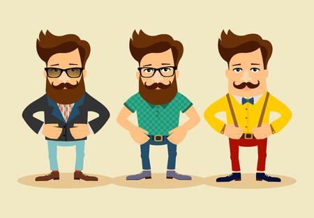 Personajes de dibujos animados. Hipster Estilo de ilustración de moda del vintage Foto de archivo - 41641950
