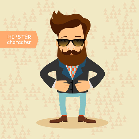 face men: Hipster cartoon character. Vintage fashion style illustration