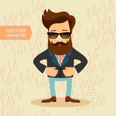 stile: Personaggio dei cartoni animati Hipster. Vintage moda stile illustrazione Vettoriali