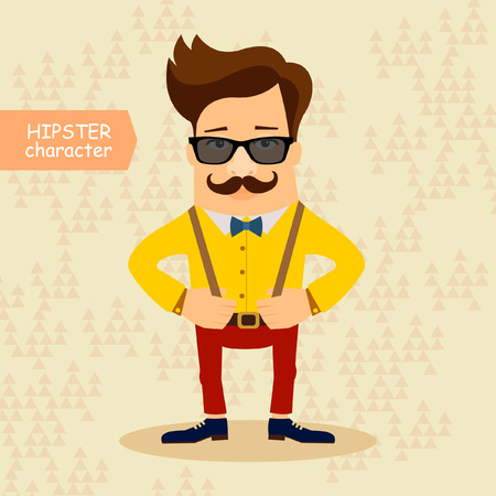 fashion style: Hipster cartoon character. Vintage fashion style illustration